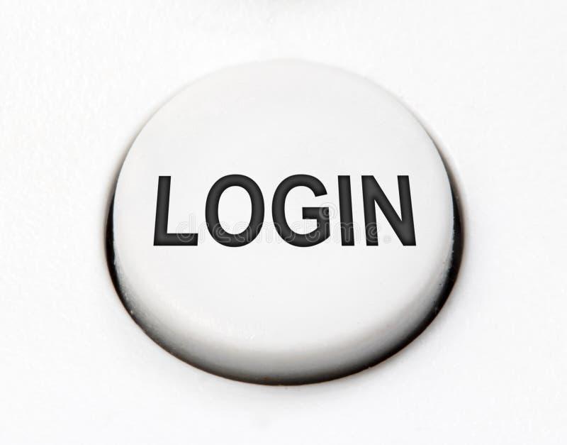 Un commutatore rotondo bianco del bottone - entri, chiuda su immagini stock libere da diritti