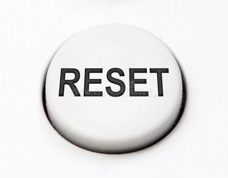 Un commutatore rotondo bianco del bottone per la fine di risistemazione su fotografia stock libera da diritti