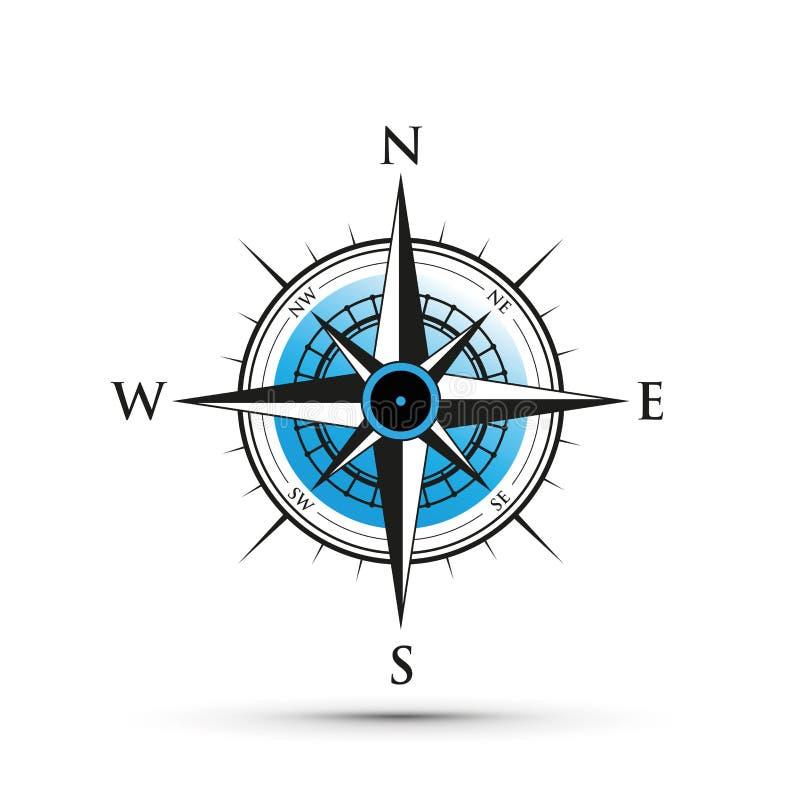 Un compás azul ilustración del vector