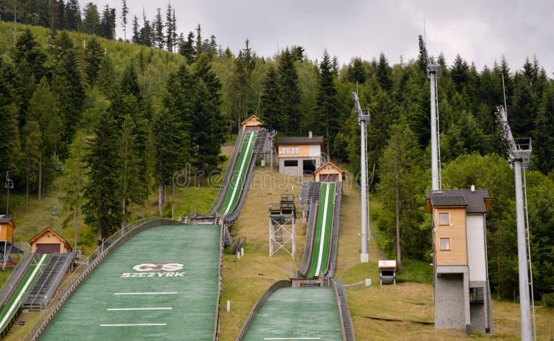 Un complesso di tre salti di sci Szczyrk fotografie stock