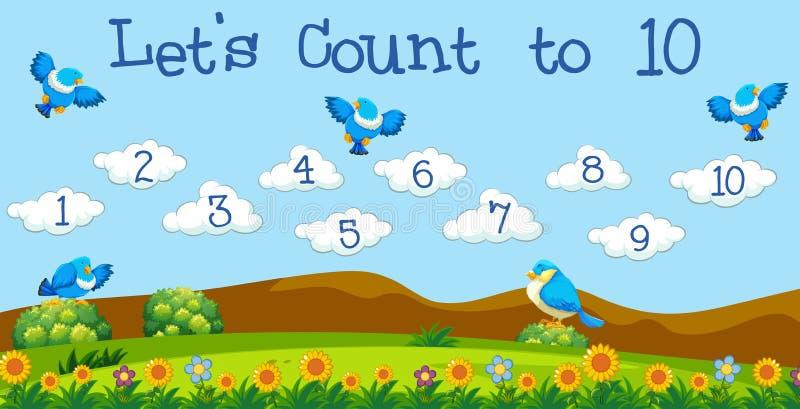 Un compte de leçon de maths à 10 illustration stock