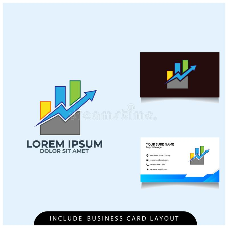 un concept de construction financier simple de logo avec une disposition de carte de visite professionnelle de visite illustration stock