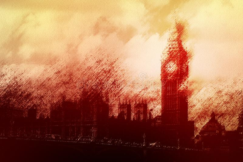 Un concept de la crise du gouvernement britannique avec la silhouette des Chambres du Parlement A artistiquement édité pour regar photos stock