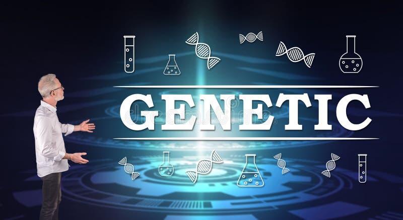 Un concept génétique a expliqué par un homme d'affaires sur un écran de mur images stock