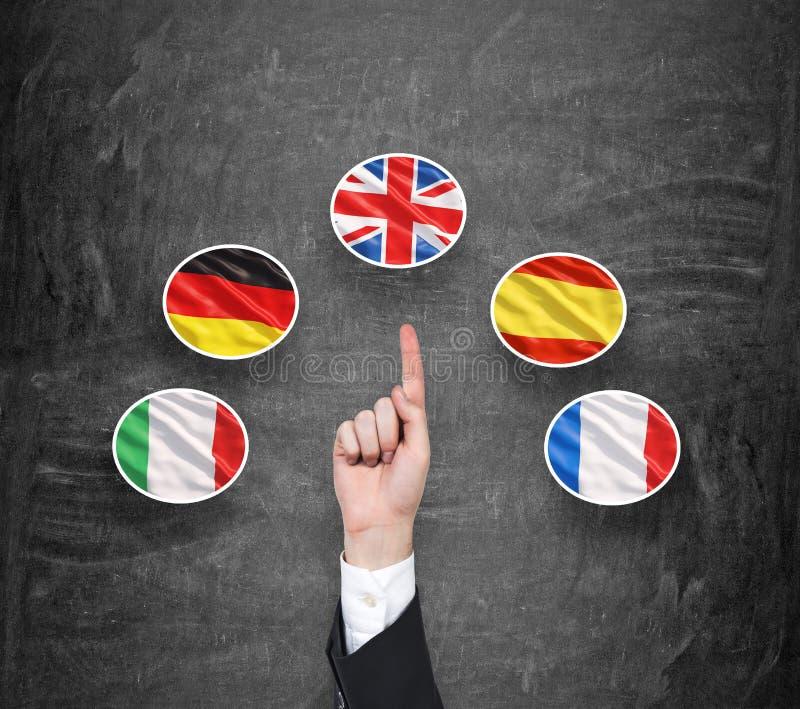 Un concepto de idioma extranjero que estudia proceso Un finger es señalamiento une la bandera del reino como prioridad en la opci foto de archivo libre de regalías