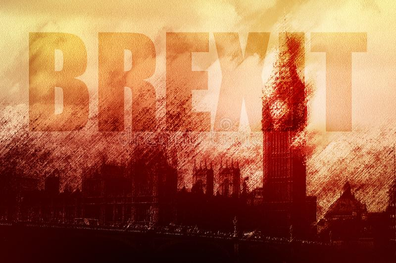Un concepto de la crisis del gobierno británico con la silueta de las casas del parlamento Artístico corrigió para mirar la presa fotografía de archivo libre de regalías