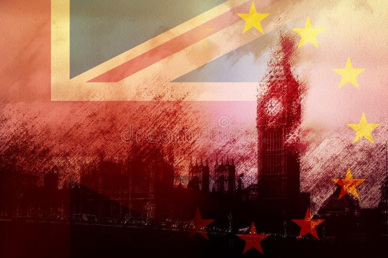 Un concepto de la crisis del gobierno británico con la silueta de las casas del parlamento overlayered con la E U y Br imagen de archivo libre de regalías