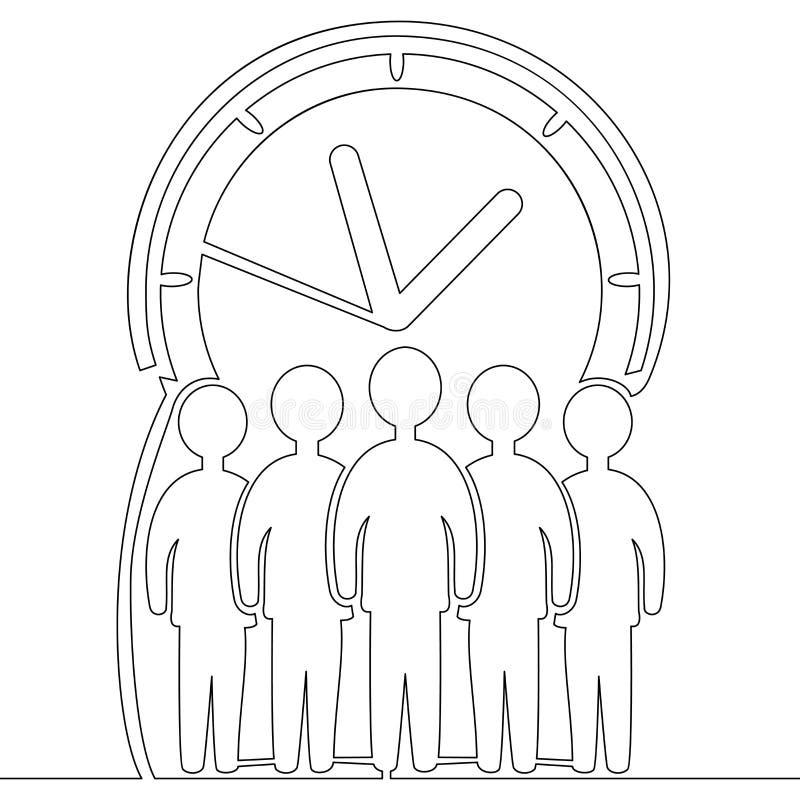 Un concepto de la gestión de tiempo del dibujo lineal ilustración del vector