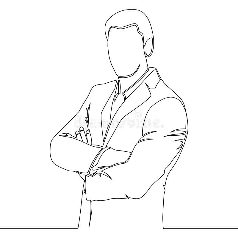 Un concepto de la situación del agente del dibujo lineal ilustración del vector