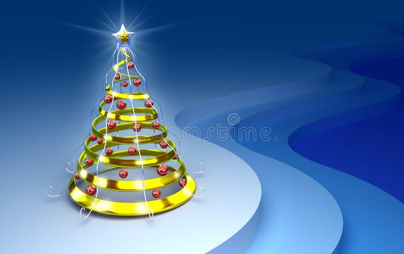 Un concepto del árbol de navidad. Saludo de la tarjeta del Año Nuevo. ilustración del vector