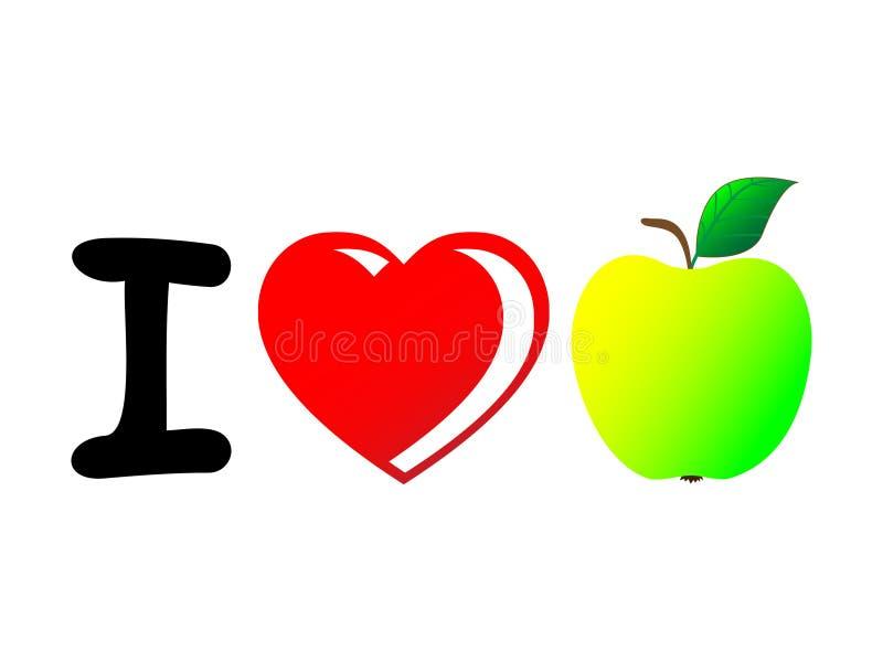 Un concepto maravilloso con énfasis en el amor para las manzanas stock de ilustración
