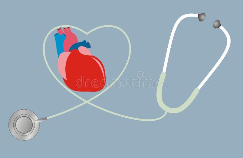 Un concepto para la salud del corazón Estetoscopio en la dimensión de una variable del corazón ilustración del vector