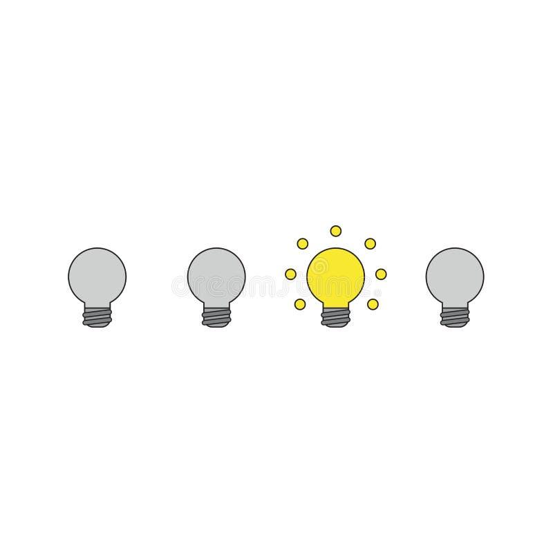 Un concetto dell'icona di vettore di quattro lampadine ed una di loro che emettono luce Profili neri e colorato illustrazione di stock