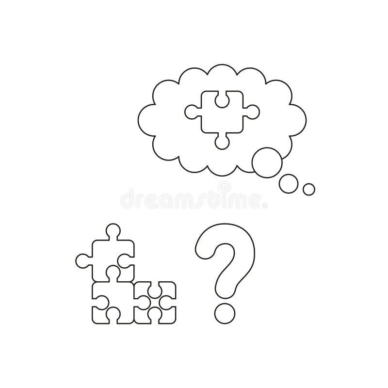 Un concetto dell'icona di vettore di tre parti ha collegato il puzzle, il punto interrogativo ed il pezzo mancante di puzzle Prof illustrazione vettoriale