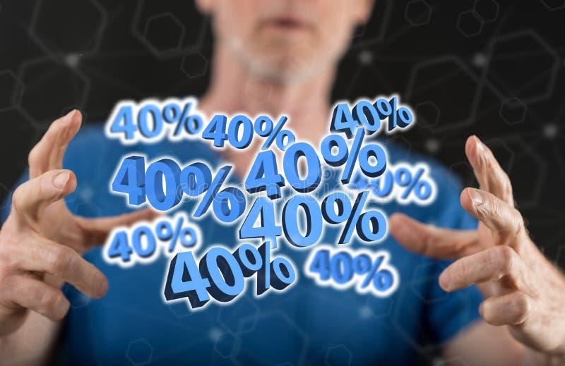 Un concetto dello sconto di 40% immagini stock