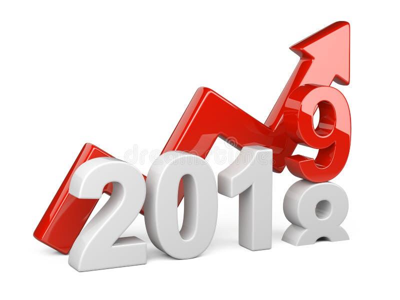 2018 un concetto di 2019 cambiamenti Rappresenta il simbolo del nuovo anno con il gr illustrazione vettoriale
