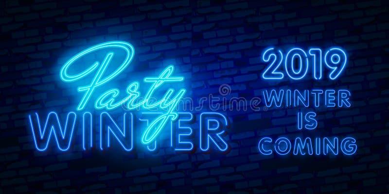 Un concetto di 2019 nuovi anni con le luci al neon variopinte Retro elementi per le presentazioni, alette di filatoio di progetta illustrazione vettoriale