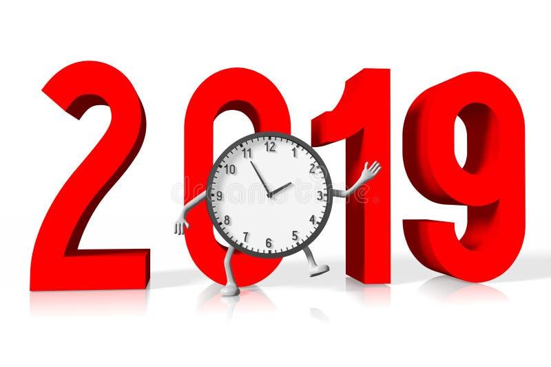 Un concetto di 2019 nuovi anni - orologio illustrazione vettoriale