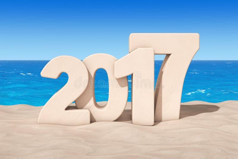 Un concetto felice di 2017 nuovi anni Un segno da 2017 nuovi anni a Sunny Beach illustrazione di stock