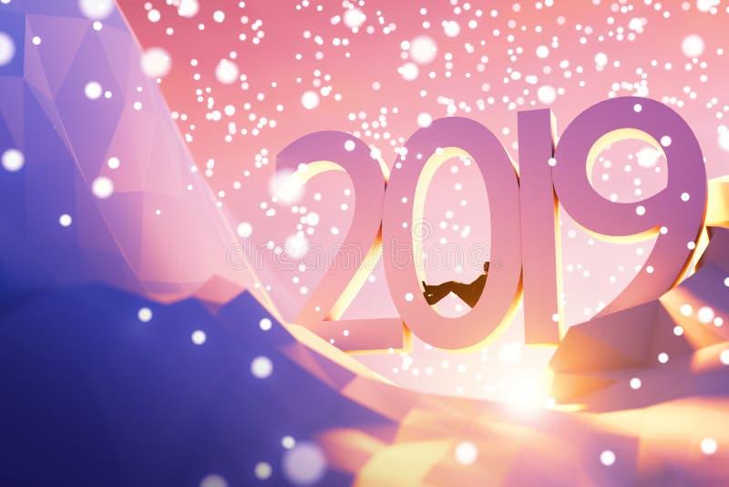 un concetto imminente di 2019 nuovi anni dell'illustrazione 3d fotografie stock libere da diritti