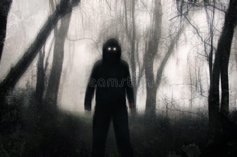 Un concetto orrore Una figura zoppicante, in piedi in una foresta invernale, con occhi spaventosi che brillano Con una grunge, un fotografia stock