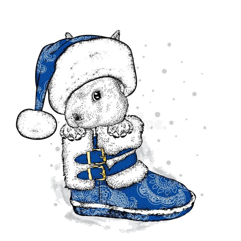 Un conejito divertido en un sombrero de la bota del ` s del Año Nuevo y del ` s de Papá Noel Un ejemplo del vector para una posta libre illustration