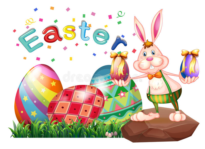 Un conejito sobre la roca con los huevos de Pascua ilustración del vector