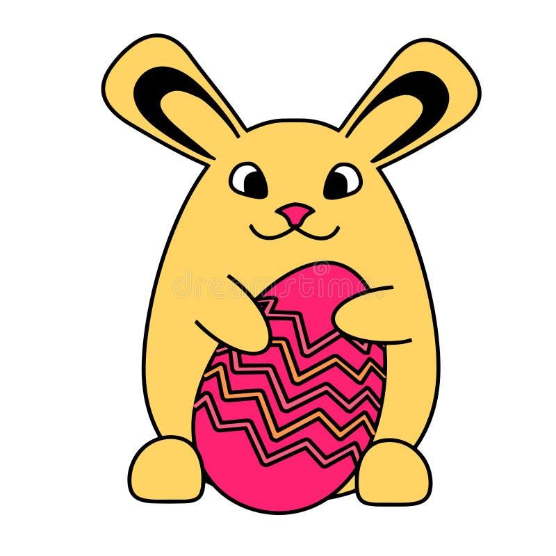 Un conejo de conejito de pascua con el huevo de Pascua stock de ilustración