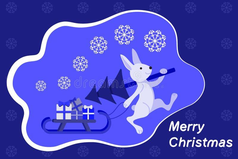 Un coniglio porta un albero di Natale e porta una slitta con i regali Buon Natale illustrazione vettoriale
