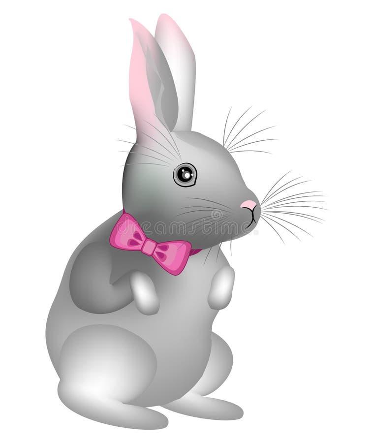 Un coniglio sveglio grigio con un nastro rosa intorno al suo collo Il simbolo di Pasqua nella cultura di molti paesi Illustrazion illustrazione vettoriale