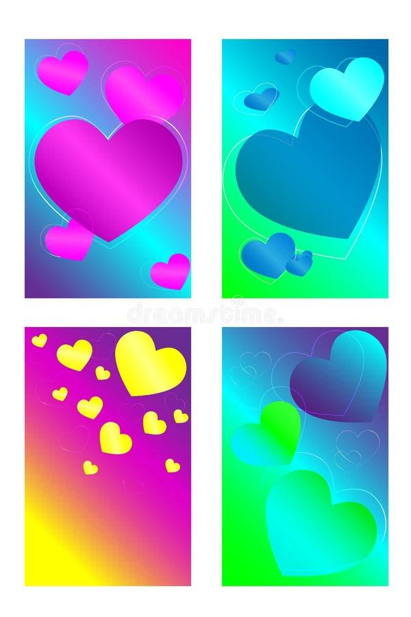 Un conjunto de corazones coloridos Fondo brillante, colorido libre illustration