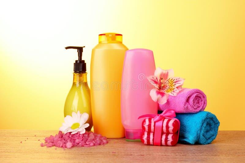 Un conjunto de cosméticos del baño fotografía de archivo