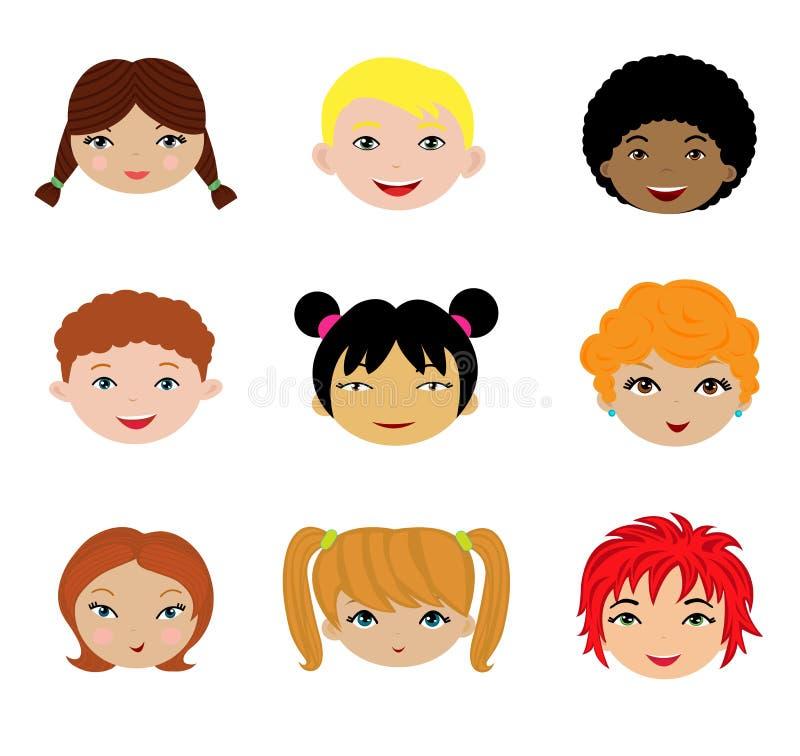 Un conjunto de diversas caras de los cabritos ilustración del vector