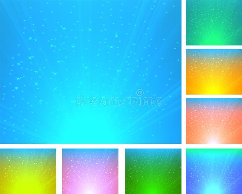Un conjunto de fondos abstractos coloridos stock de ilustración