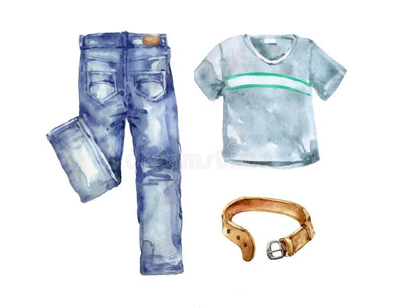 Un Conjunto De Jeans De Ropa Para Jovenes Usan Pantalones De Recoleccion De Moda De Verano Con Una Camiseta Y Un Cinturon De Cuero Stock De Ilustracion Ilustracion De Verano Segundo