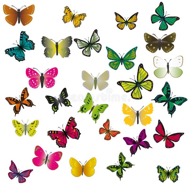 Un conjunto de mariposas coloridas stock de ilustración