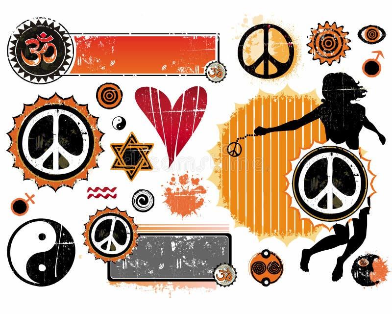 Un conjunto de símbolos esotéricos stock de ilustración