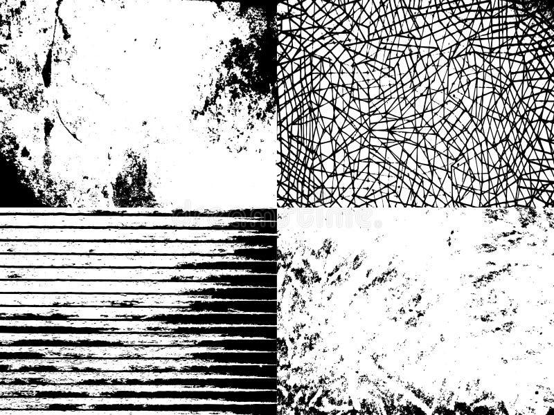 Un conjunto de texturas del grunge ilustración del vector