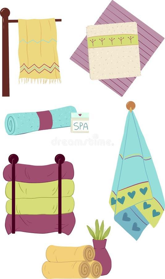Un conjunto de toallas stock de ilustración