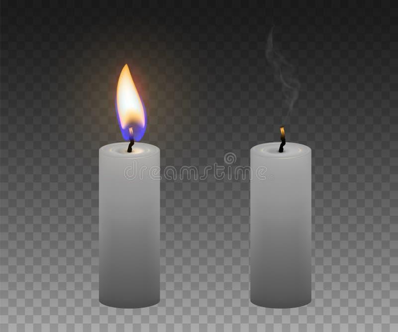 Un conjunto de velas Velas ardientes y extinguidas realista ilustración del vector