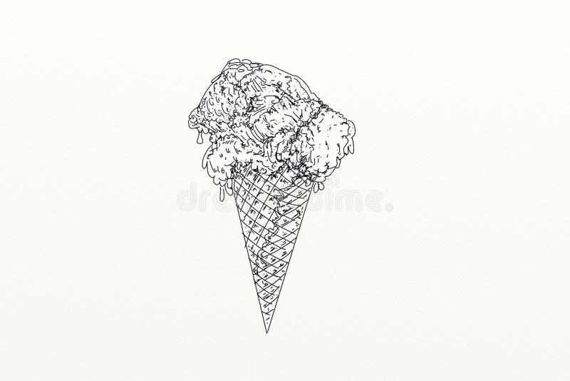 Un cono de helado stock de ilustración