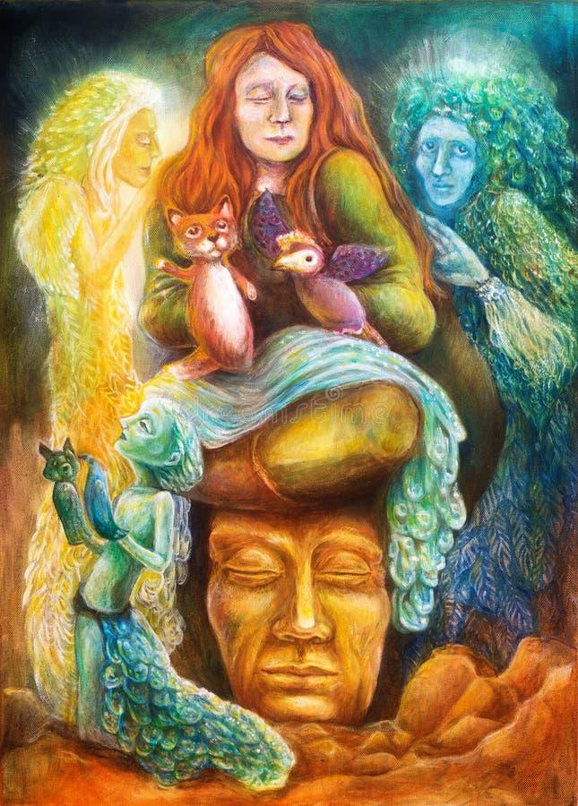 Un conteur de femme avec des marionnettes et des spiritueux protecteurs, imagination d'imagination a détaillé la peinture colorée illustration libre de droits