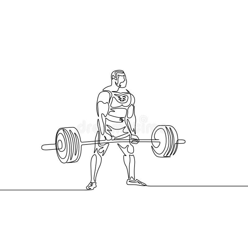 Un continuo atleta del disegno a tratteggio esegue il deadlift Powerlifting, tema di sport illustrazione di stock