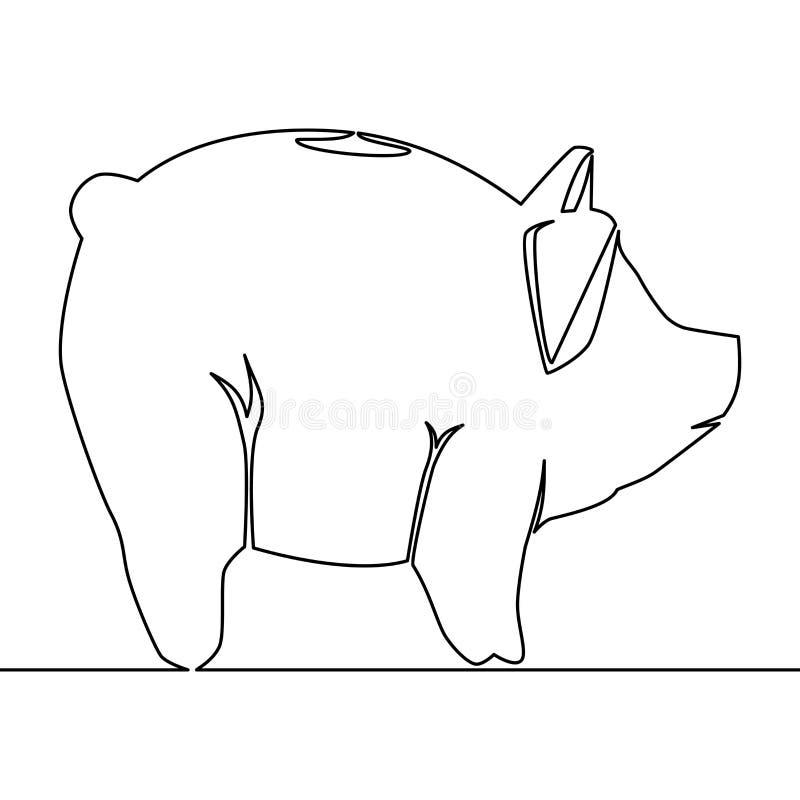 Un continuo concetto del porcellino salvadanaio del disegno a tratteggio illustrazione di stock