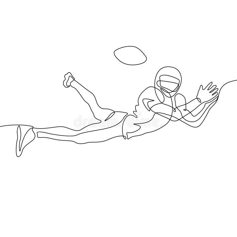 Un continuo giocatore di football americano del disegno a tratteggio salta per prendere la palla royalty illustrazione gratis