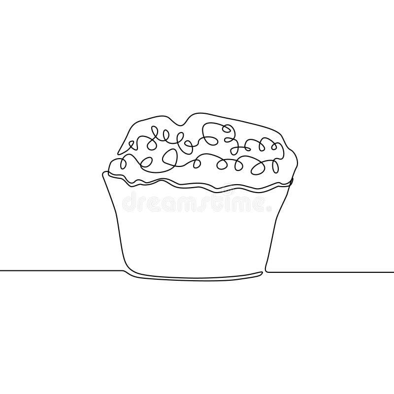 Un continuo muffin del disegno a tratteggio Illustrazione di vettore royalty illustrazione gratis