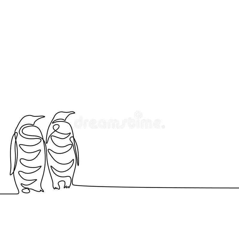 Un continuo pinguini del disegno a tratteggio due Vettore illustrazione di stock
