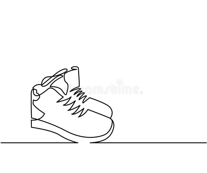 Un continuo vettore delle scarpe da tennis del disegno a tratteggio illustrazione vettoriale