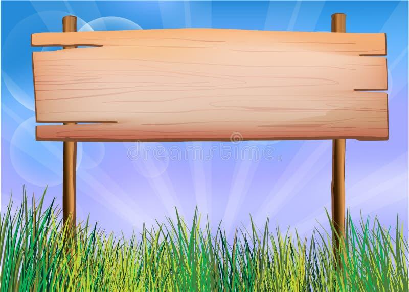 Un contrassegno vuoto fatto di legno illustrazione vettoriale