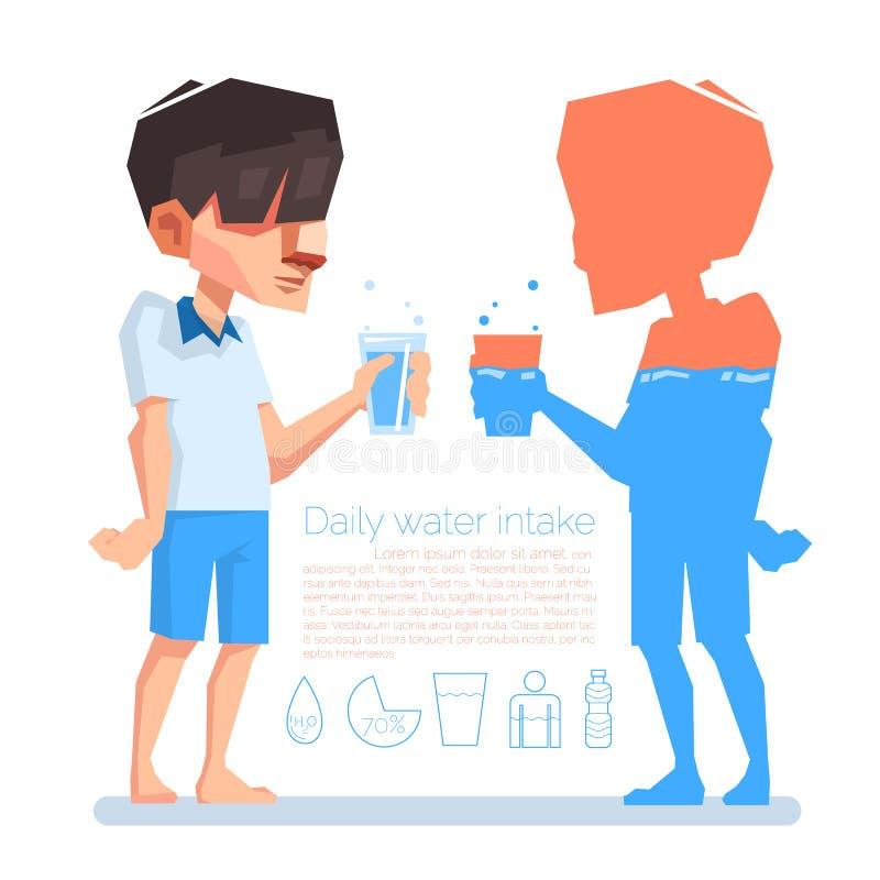 Un control del hombre al vidrio en su mano, consumo de agua diario, información de vector stock de ilustración
